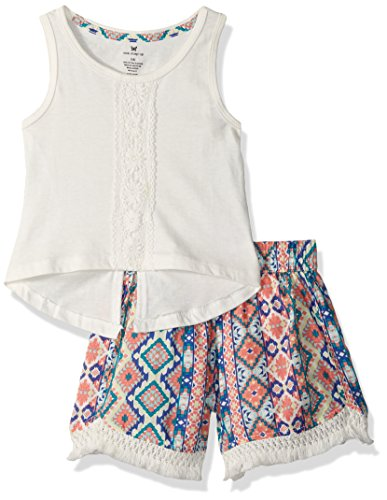 (One Step Up Little Girls 2 Piece Crochet Trim Top and Printed Short Set, Coconut Multi, 6X)