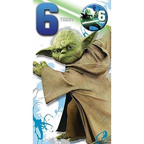 Amazon.com: Star Wars Tarjeta de cumpleaños 6 años y ...