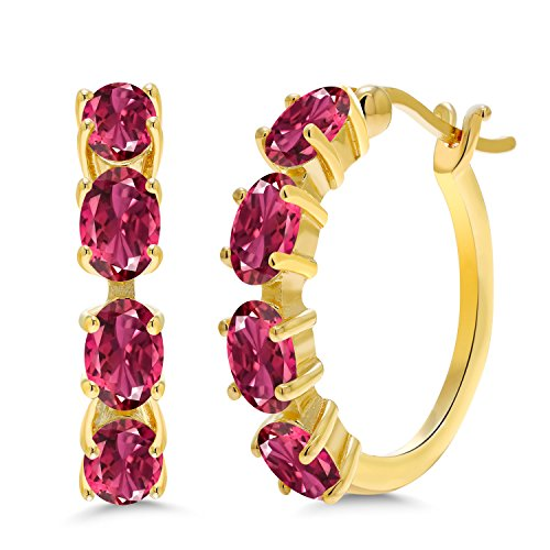 - Gem Stone King 3.04 Ct Oval Pink Tourmaline 18K Yellow Gold Plated Silver Hoop Earrings