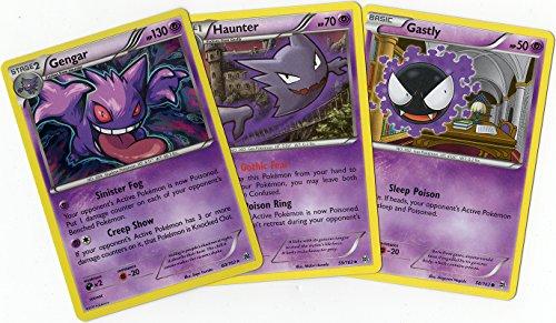 Pokémon - EVOLUTION SET - GENGAR / HAUNTER / GASTLY XY BREAKTHROUGH CARD LOT - Holo rare - Pokemon Cards Haunter Ex