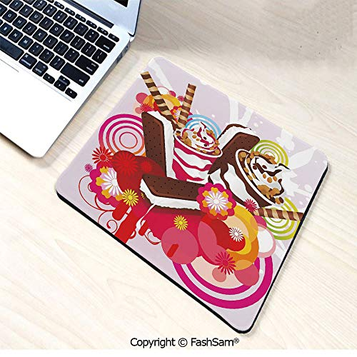 (Mouse Pads Mixed Yummy Desserts with Exotic Flowers and Flavors Summer Tropical Theme Decorative for Home(W9.85xL11.8))
