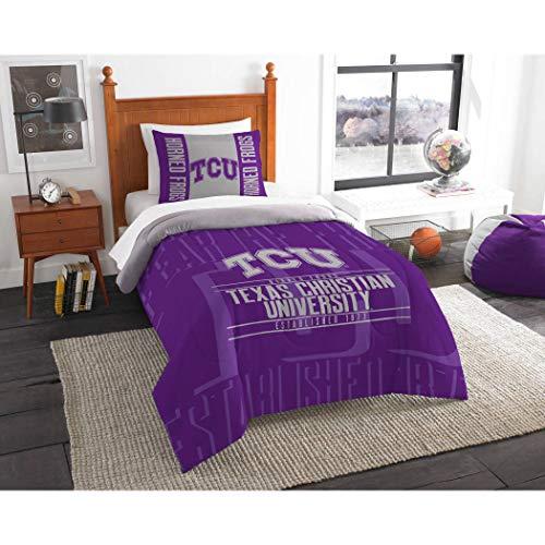 2pc NCAA TCU Horned Frogs Comforter Twin Set, College Basket Ball Themed, Unisex, Team Logo, Fan Merchandise, Sports Patterned Bedding, Purple, Grey, Team Spirit
