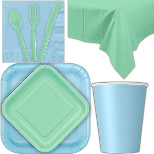 Disposable Party Supplies for 28 Guests - Powder Blue and Mint - Square Dinner Plates, Square Dessert Plates, Cups, Lunch Napkins, Cutlery, and Tablecloths: Premium Quality Tableware Set (Napkin Light Lunch Blue)