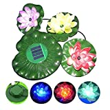 KINGCOO Solar Lotus Light, Waterproof Color-changing Lotus Flower Lamp 3 LED Outdoor Floating Pond Night Light for Garden Pool Party Decoration