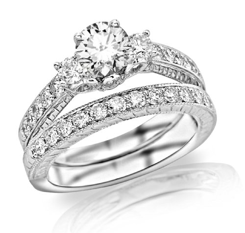 1.36 Carat Three Stone Vintage With Milgrain & Filigree Bridal Set With Wedding Band & Diamond Engagement Ring With A 0…
