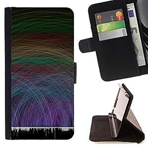 BullDog Case - FOR/Samsung Galaxy Core Prime / - / music sound waves vibe dance love party /- Monedero de cuero de la PU Llevar cubierta de la caja con el ID Credit Card Slots Flip funda de cuer
