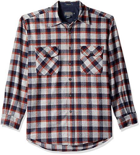 Pendleton Men's Long Sleeve Maverick Merino Wool Shirt, Grey Mix/Copper Plaid, MD