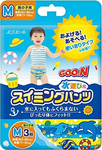 GOO.N Japanische Baby Schwimmwindeln für Jungen Gr. M (7-12 kg) 3 Stück Premium Qualität Daio Paper Corporation