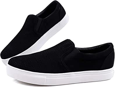 Women' s Fashion Sneakers Perforated Slip on Flats Comfortable Casual Flat Walking Shoes