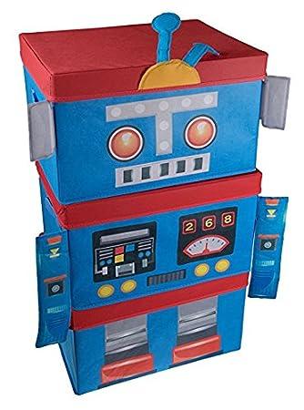 Apilables Organizador Plegables Set Azul 3 Piezas Robot Y Juguetes Para Rojo L4A5jc3qR