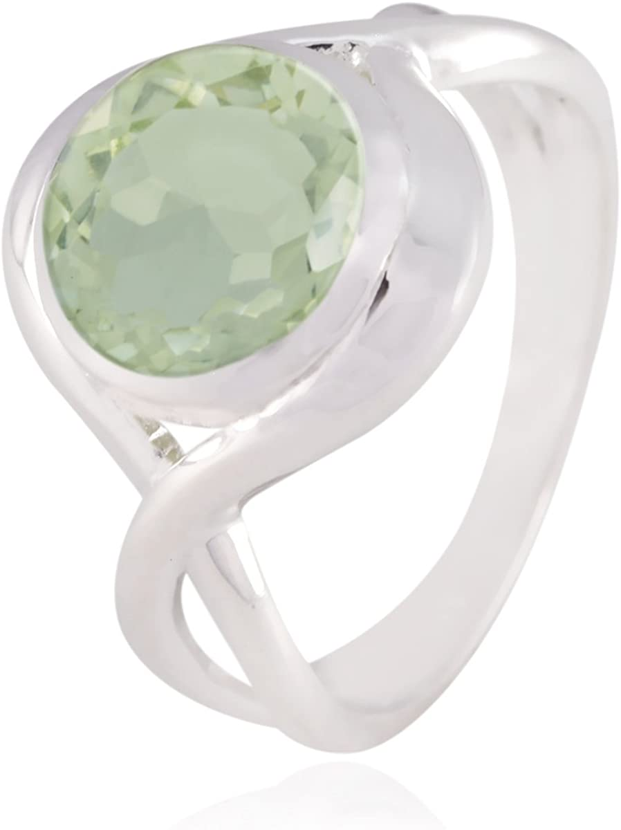 925 Silver Green Green Amethyst Genuine Gems Ring Genuine Gems Round Faceted Green Amethyst Rings Home d/écor Nice Seller Gift for New Years Day Oval Cut
