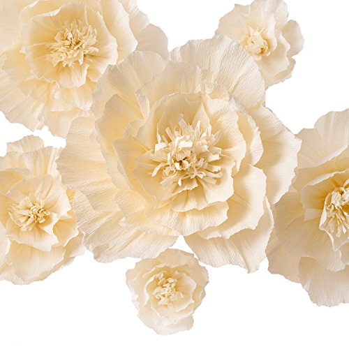 Crepe Paper Flowers,Artificial Flowers,Paper Flowers for Wedding Decor,Flower Backdrop Decor,Baby Shower,Birthday Party,Photo Backdrop,Archway Decorations, Nursery Wall Decor(Ivory,Set of 6)