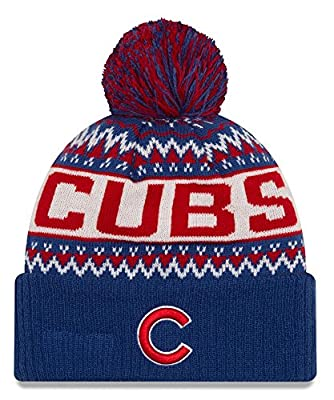"""Chicago Cubs New Era MLB """"Wintry Pom"""" Cuffed Knit Hat with Pom"""