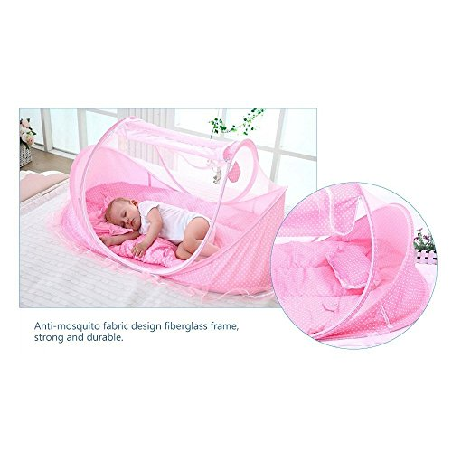 SUPOW Baby Mosquito Net Bed, Portable Infant Tent Folding Infant Travel Crib Mosquito Bed Summer (Pink/) by SUPOW (Image #3)