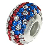 925 Sterling Silver Round USA Flag Ferido Crystal Bead For European Charm Bracelets