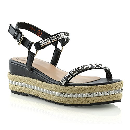 ESSEX GLAM Womens Low Wedge Heel Espadrilles Ladies Summer Stud Platform Sandals Size 3-8 Black UloFrUVo4