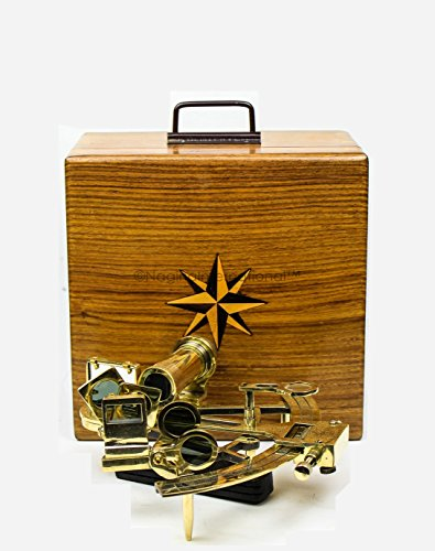 Nagina International Large 7'' Nautical Maritime Solid Brass Functional Sextant With Elegant 9'' Rosewood Grain-Rich Storage Case Box | Educational Kids Tool & Pirate's Gifts Decor (Polished) by Nagina International