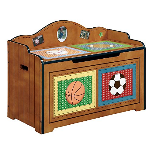 Svitlife Fantasy Fields - Lil' Sports Fan Toy Chest Toy Chest Sports Box Wooden Butterfly Flower Stencil Amish