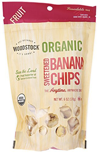 Woodstock Farms Banana Chips, Sweetened, Organic, 6-Ounce Bags (Pack of 8) ( Value Bulk Multi-pack)
