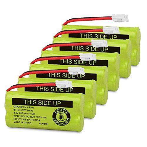 QTKJ BT18433 BT28433 BT184342 BT284342 BT-1011 Cordless Phone Battery for AT&T Vtech CL80109 CS6209 TL90078 BT-8300 BATT-6010 Uniden CS6219 CS6229 DS6301 DS6151 DS6101 BT-1018 BT-1022 (6-Pack)