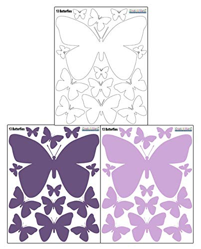 Butterfly Wall Decals- Girls Wall Stickers ~ Decorative Peel & Stick Wall Art Sticker Decals (Lilic,Lavender,White) by Create-A-Mural (Image #7)