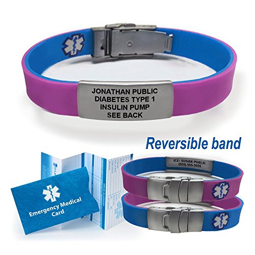 Sport/Slim Reversible Waterproof Medical Alert Bracelet. Incl. 9 lines engraving. - PURPLE/BLUE