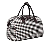Ecokaki(TM) Oversized Travel Shoulder Bag Waterproof Oxford Cloth Casual Travel Tote Luggage Duffle Handbag, White Grid