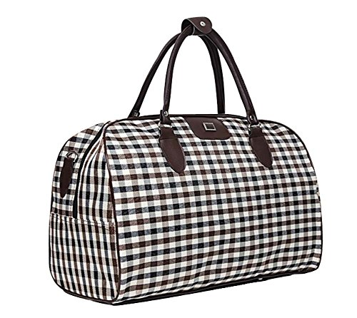Ecokaki(TM) Oversized Travel Shoulder Bag Waterproof Oxford Cloth Casual Travel Tote Luggage Duffle Handbag, White Grid by Ecokaki