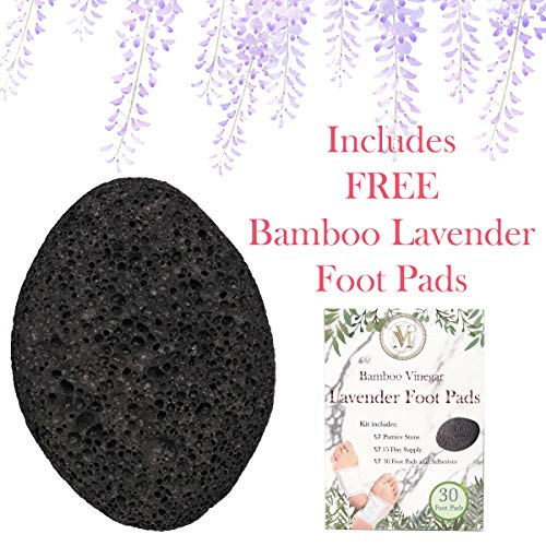 (Natural Earth Volcanic Lava Pumice Stone for Foot Callus, Includes FREE 30 Pcs Premium Bamboo Vinegar Lavender Pads - Premium Callus Remover for Feet and Hands. Pedicure Tools, Exfoliation Remove Dead)