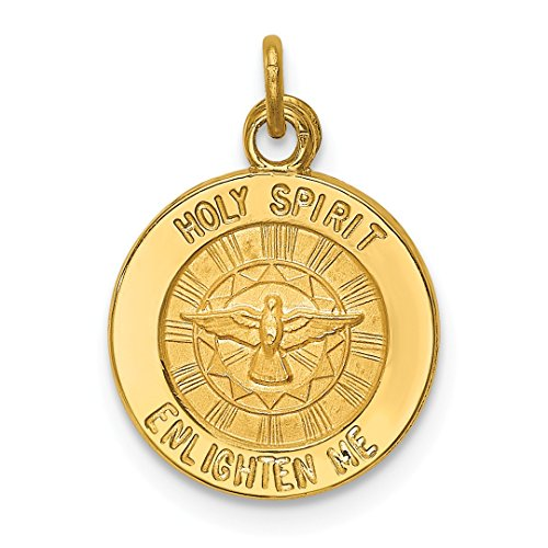 14k Yellow Gold Holy Spirit Medal Pendant Charm Necklace Religious Trinity Fine Jewelry For Women Gift Set