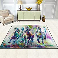 DEYYA Color Horse Painting Contemporary Area Rug Carpet for Living Room Bedroom 7 x 5