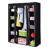 Homgrace 53'' Wardrobe Storage Closet Clothes Organizer, Portable Closet Storage Organizer with Shelves (Black)