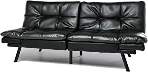 Futon Sofa Bed Memory Foam Couch Sleeper Daybed Foldable Convertible Loveseat (Black)