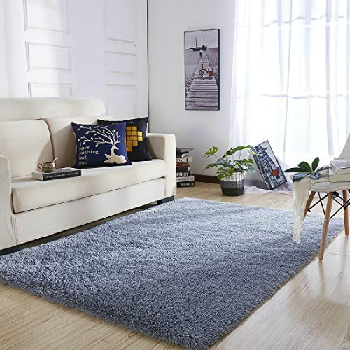 YOH UItra Soft Area Rugs Fluffy Gray Carpet Children Kids Room Girls Bedroom Living Room Home Decor Nursery Rugs 4'x 5.3'