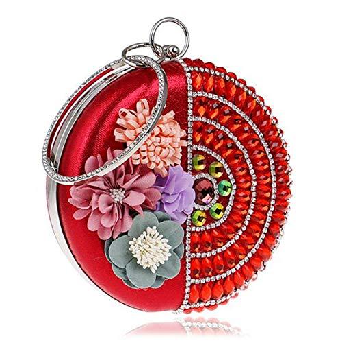 tote notte pacchetto strass di signore donne stoccaggio cosmetici capacità grande nozze cena rosso le da sera per delle rotondo Pochette fiore abito BqFOSnBgt