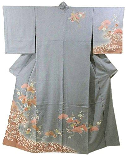 スキャンダラス偽造忠実なリサイクル 着物 付下 正絹 袷 流水と梅、笠松 裄67.5cm 身丈167cm