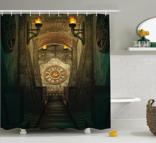 [Gothic House Decor Shower Curtain Set Medieval Secret Passage with Torch and Golden Clock on Wall Mystery in Temple Print Bathroom Accessories Grey] (Camper Gothic Costumes)