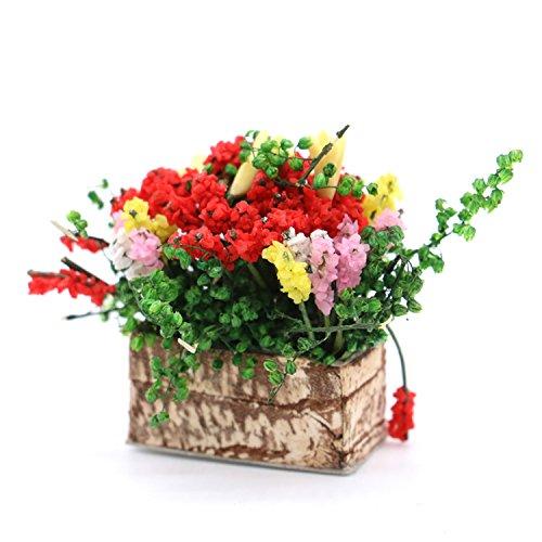 Rugjut Dollhouse Miniature Multicolor Flower Bush With Wood Pot , 1:12