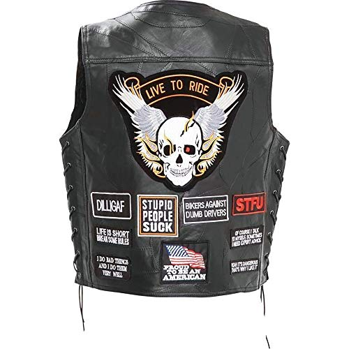 - Biker Vest Concealed Carry Buffalo Leather Motorcycle CCW Skull Wings w/ 16 Patches (4XL) Black