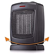 Space Heater Electric Heater for Home and Office Oscillating Ceramic Small Heater with Thermostat, 750W/1500W
