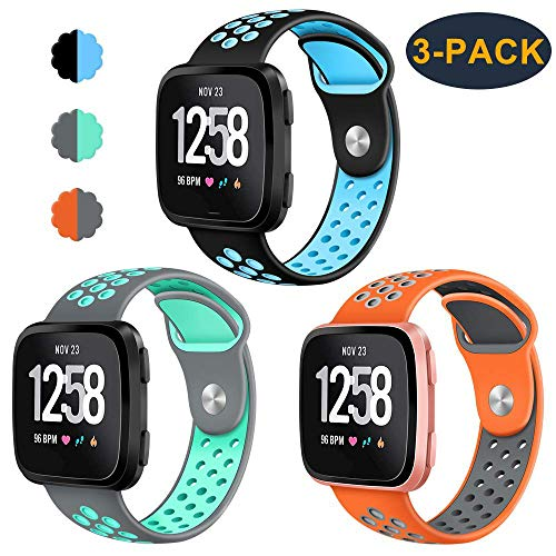 CAVN 3-Pack Bands Compatible with Fitbit Versa Smartwtach for Men Women, Sweat Resistant Replacement Accessory Strap Bracelet (S/5.5