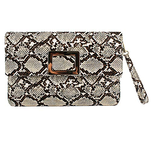CLARA Women Fashion Snakeskin Handbag Wristlet Envelope Clutch Chain Shoulder Crossbody Bag