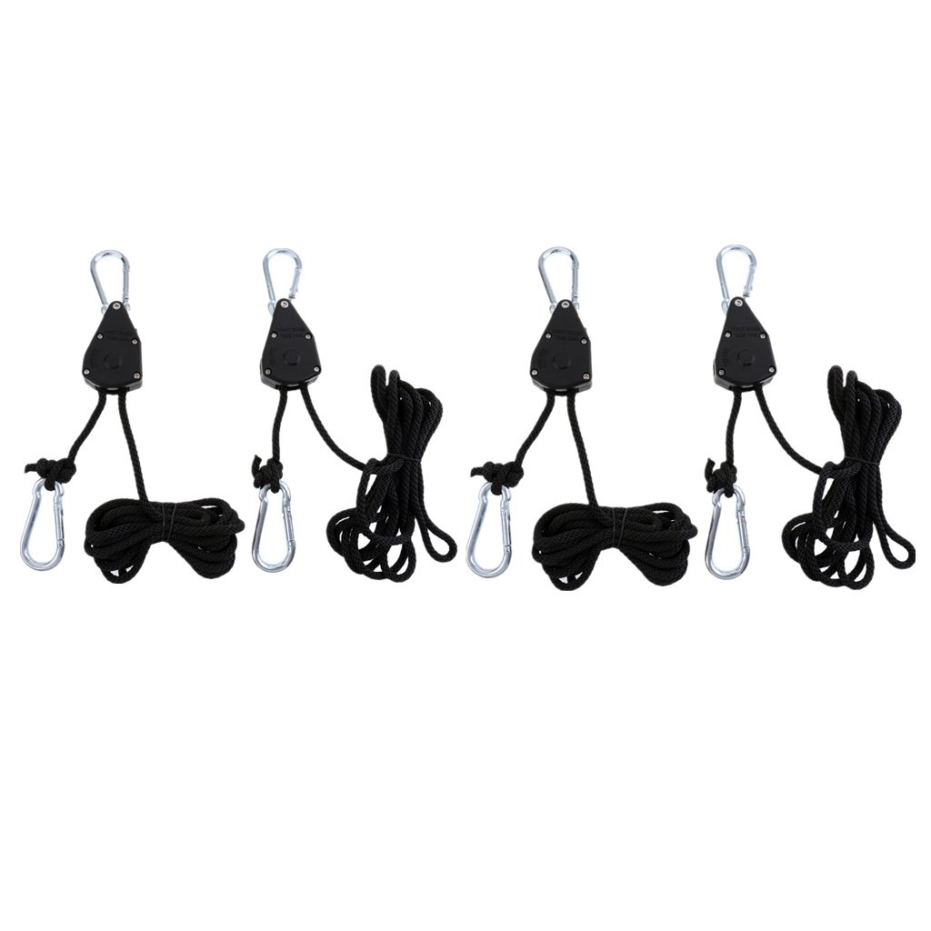 Flameer 4pc Nylon Rope Ratchet Adjustable Hanger Light Reflector Max 150LBS Black