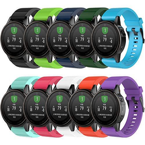 QGHXO Band for Garmin Fenix 5S, Soft Silicone Replacement Watch Band Strap for Garmin Fenix 5S Smart Watch, Fit 5.31-8.46, (Not Fit Fenix 5 / 5X) (A:10PCS Bands)