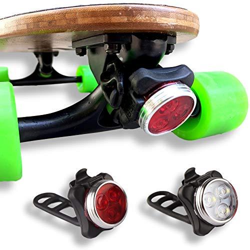 🥇 Eggboards Led Skateboard Lights – Led Longboard Lights Front and Back USB Rechargeable. Ideal Electric Skateboard Lights Kit. 2 USB Cables and 2 Strap Included.