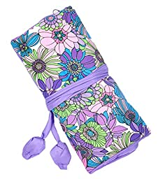 iSuperb® Travel Jewelry Roll Silk Embroidery Brocade Elegant and Bold Travel Jewelry Case Mother\'s Gift (Purple with Sunflower)