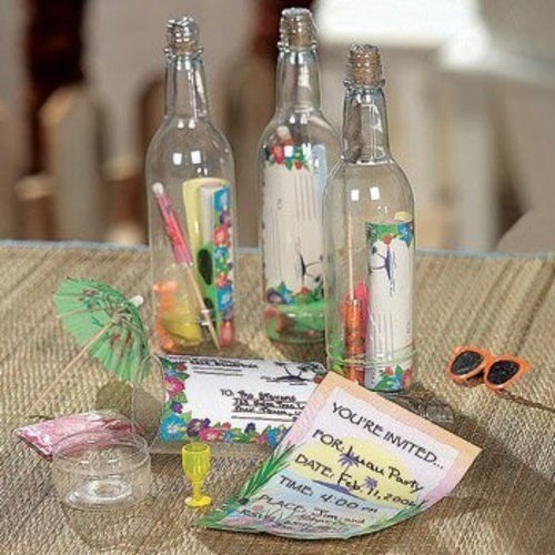 12 Message In A Bottle Luau Tropical Pool Party Invitations; New; Free ()