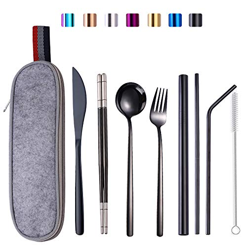 Travel Utensil Set with Case Black Silverware Set Portable Flatware Set Stainless Steel Cutlery for Camping, Work…