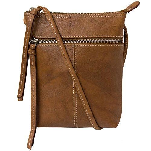 Leather Mini Sac Contrast Stitch Cross-body Handbag (Antique Saddle) - Sac Antique