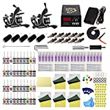 Tattoo Kit for Beginners Complete Starter Tattoo Kit 2pcs Tattoo Machine Kit with Needle Cartridge Kit 40 Tattoo Inks TK1000088